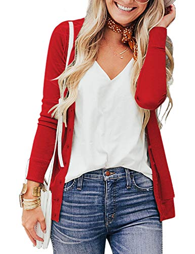 a.Jesdani Sweaters for Women Long Sleeve Crew Neck Button Down Soft Cardigans Sweater Red 1XL Plus