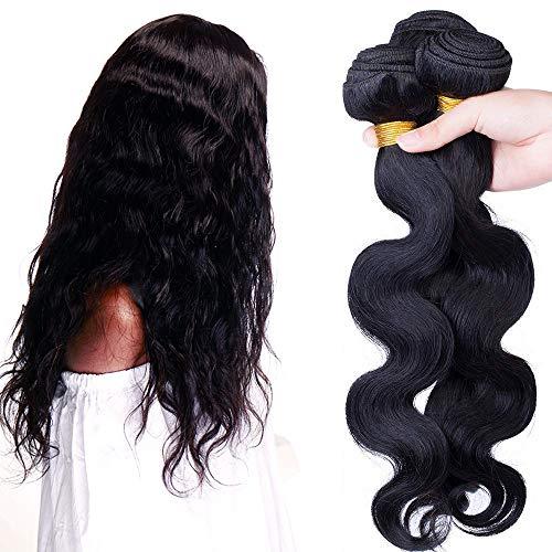 SEGO Extension Tessitura Capelli Veri Matassa Virgin Human Hair Ricci Mossi Umani Brasiliani Body Wave 100% Remy 3 Bundles Nero Naturale - 60cm 300g