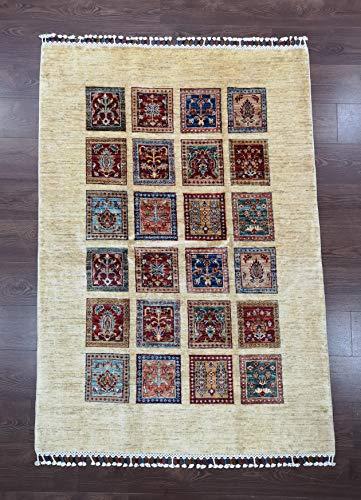 Alfombra de lana afgana, 100% tejida a mano (45RCM0021) (184 x 125 cm)