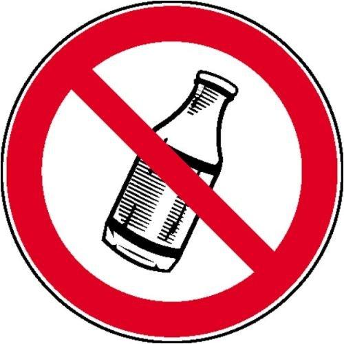 1249. Verbod bord flessen buiten gooien verboden zachte PVC-folie, zelfklevend, bedrukt maat 20,00 cm