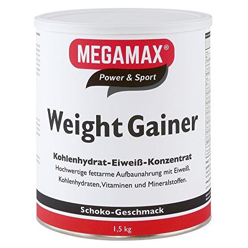 Megamax Weight Gainer Schoko 1,5 kg 0,5% Fett   Vitamine, hochwertige Kohlenhydrate & Proteine ideal für HardGainer u. Untergewicht   Aufbaunahrung für Massephase, Masseaufbau & Zunehmen