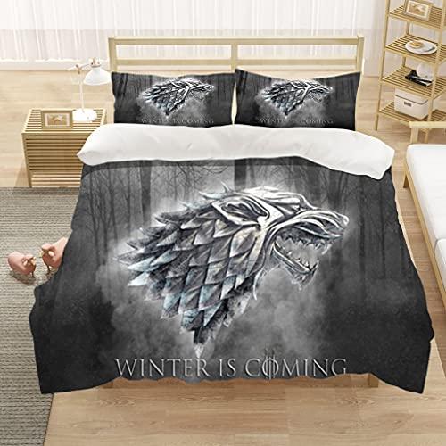 Game of Thrones Funda Nórdica 3D Juego de Ropa de Cama 3 Piezas - Funda Nórdica 200x200 cm y 2...