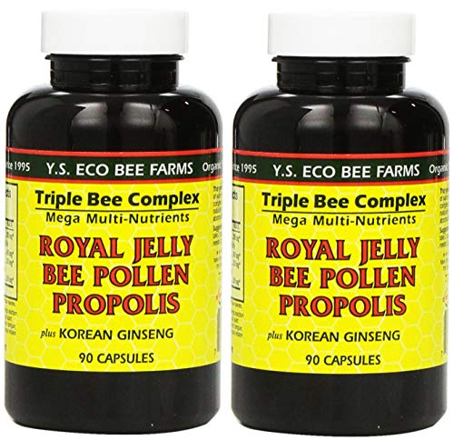 Y.S. Eco Bee Farms, (2 Pack) Royal Jelly, Bee Pollen, Propolis, Plus Korean Ginseng, 90 Capsules
