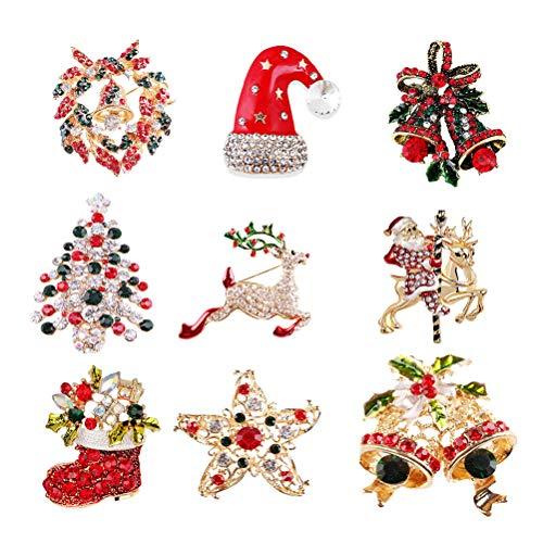 SUPVOX Lot de 9 broches de Noël délicates en pierres de strass- Bijoux, accessoires, cadeau pour femme et fille