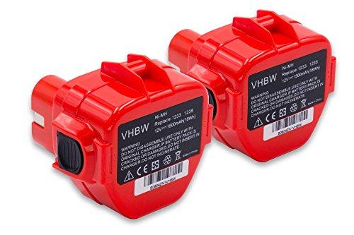 vhbw 2x Batería reemplaza Makita 1220, 1222, 1233, 1234, 1235, 1235F, 1250, 192536-4, 192597-4 para herramientas eléctricas (1500mAh NiMH 12V)
