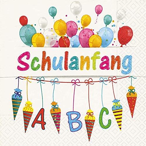 Servietten Schulanfang mit bunten Buchstaben, Luftballons & Schultüten - Tisch-Deko Dekoration Schule ABC-Schützen Einschulung 1. Schultag Junge & Mädchen 60 Servietten