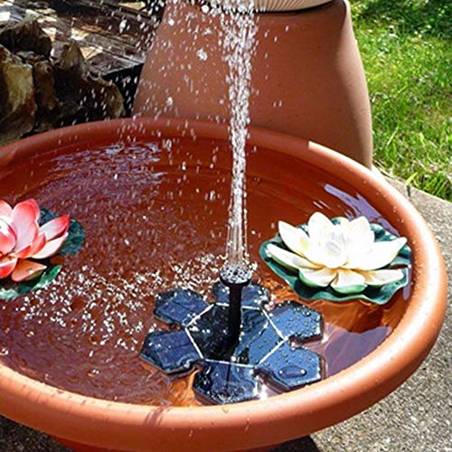 WAZA Bomba de Fuente Solar con 6 Boquillas Diferentes Efectos Forma de Flor de Hielo Fuente Solar Flotante Bomba de Agua para Aire Libre Baño de Aves Estanque Piscina Patio Decoración de Jardín