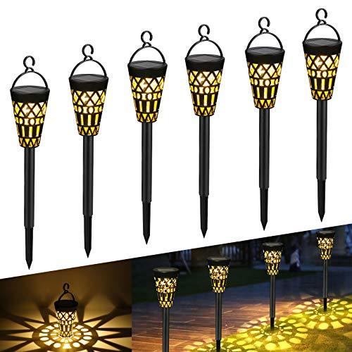 Tencoz Lámparas Solares para Jardín, Luces Solaes Exterior LED Impermeables Decoración Iluminación de Jardín para Caminos Patio Césped, Encendido/Apagado Automático (6 pack)