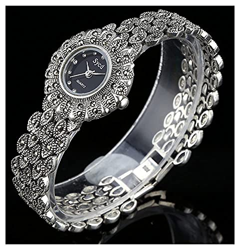 CDPC Reloj de Pulsera para Mujer Reloj Vintage de Plata de Ley 925 Movimiento de Cuarzo Reloj de Piedra de diseño Ovalado Reloj gótico