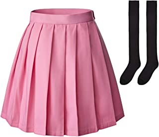 Elibelle Women's Japanese High Waisted Tartan Pleated Basic Solid Cosplay Costumes Skirts with Knee High Boot Socks