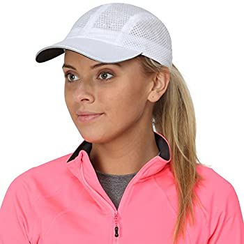 TrailHeads Race Day Performance Running Cap | The lightweight quick dry sport cap for women - white