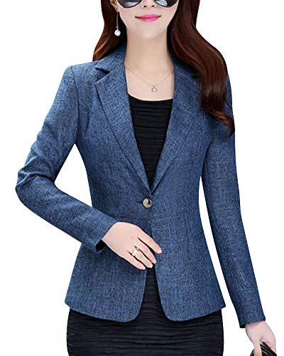 Blazer para Mujer Un Casual Slim Manga Botón Modernas Casual Larga Solapa Cuello Chaqueta Abrigo Moda 2020 Ropa De Mujer (Color : Blau, One Size : S)