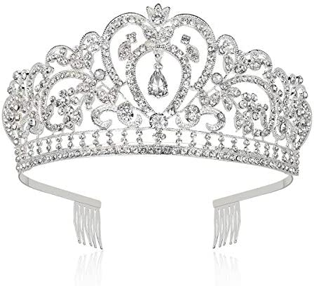 Makone Crystal Crowns and Tiaras with Comb for Girl or Women Christmas Birthday Halloween Party product image