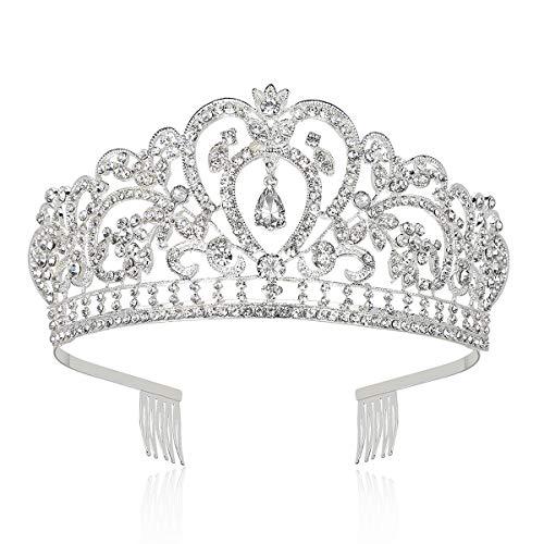 Makone Tiara Corona de Cristal con Diamantes de imitación Peine para Corona Nupcial Proms de Boda desfiles Princesas Fiesta de cumpleaños (Peine Estilo-6)