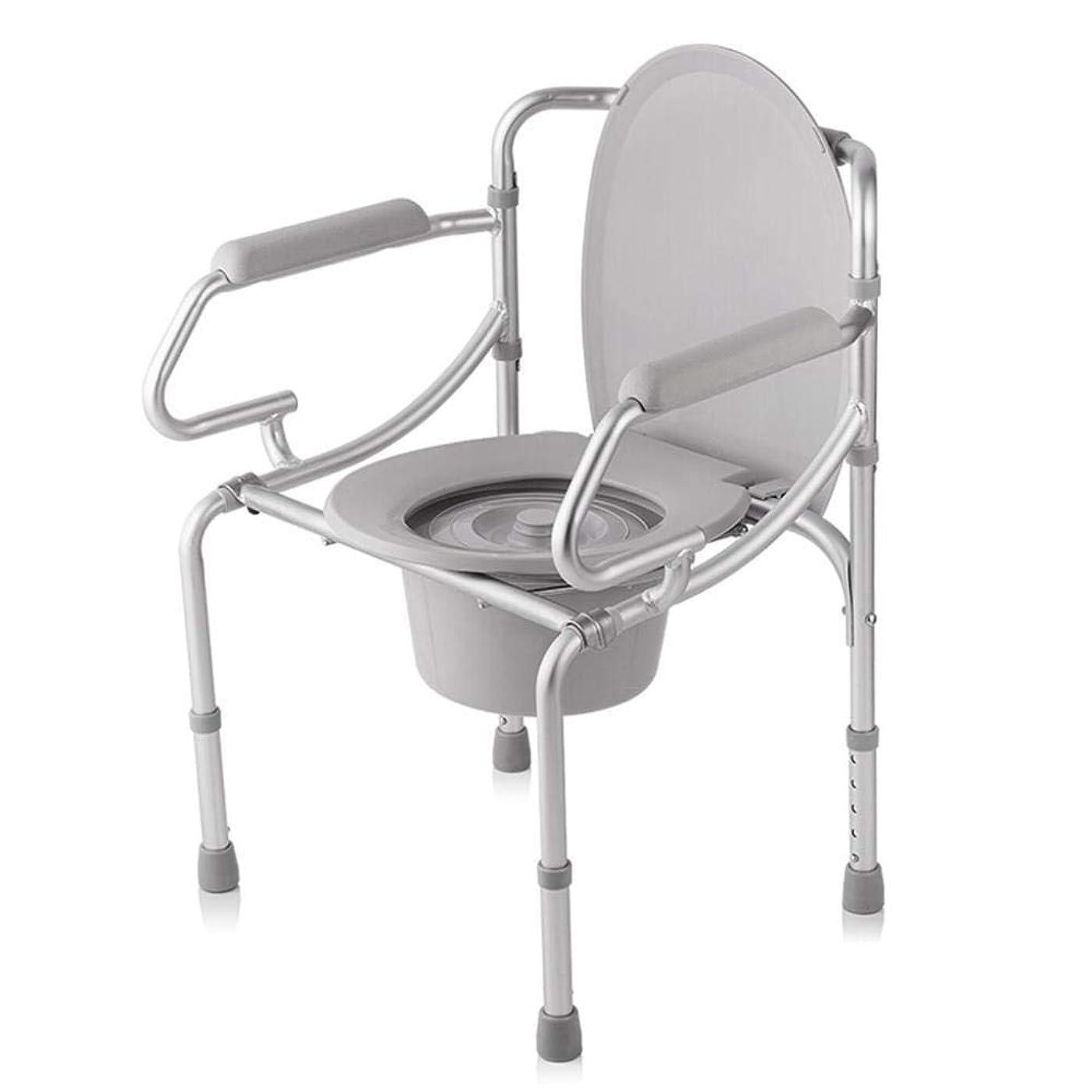 評価する皮メンタリティ調節可能な便器椅子、取り外し可能なパッド入りシートとトイレ付きの豪華な折りたたみ軽量便器