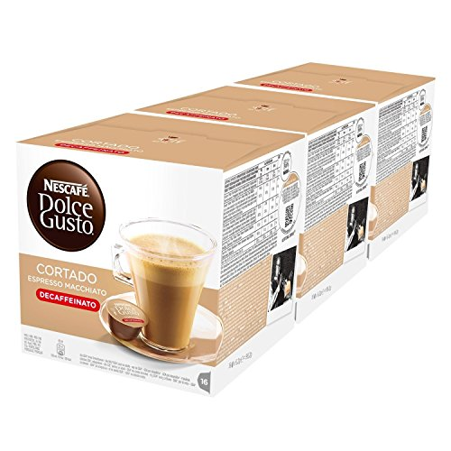 Nescafé Dolce Gusto Espresso Cortado Decafeinato, Entkoffeiniert, Kaffee, Kaffeekapsel, 3er Pack, 3 x 16 Kapseln
