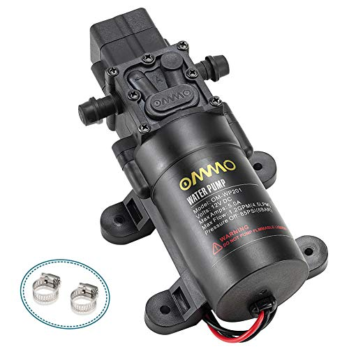 OMMO 12V DC Fresh Water Pump, 60W RV Diaphragm Pump with 2 Hose Clamps, 4.5 L/Min 1.2 GPM 85 PSI Self Priming Sprayer Pump with Pressure Switch for RV Marine Boat Lawn