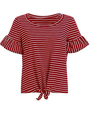 Romwe Women's Striped Short Sleeve Tie Front Knot Casual Loose Fit Tee T-Shirt Burgundy S