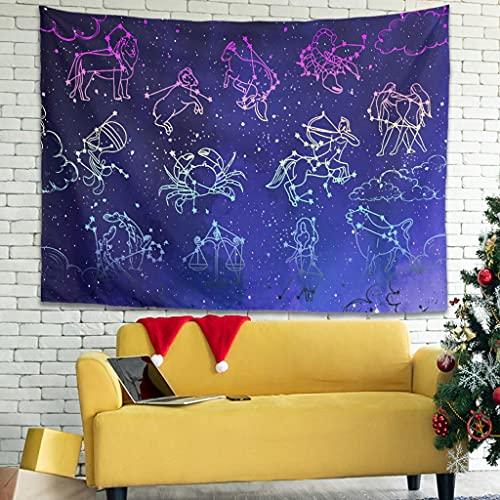 OwlOwlfan Tapersty Star Constellation Tapersty - Tapiz decorativo para colgar en la pared, mantel de tela para decoración del hogar, color blanco 40 x 59 pulgadas