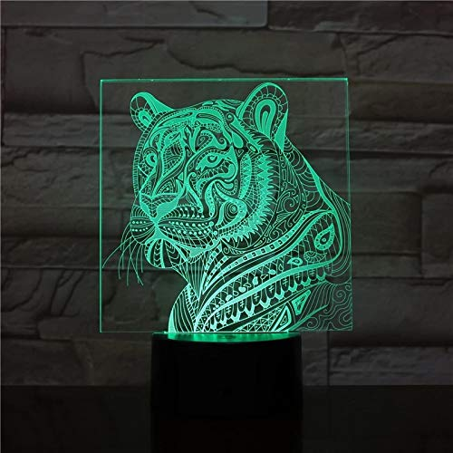 SCNYCUL 3D Night Light Tiger dense pattern 16 colors Kids Toy Changing Dimmable with Smart Touch Unique Cool Birthday Gift Ideas Girl Boys Lovers