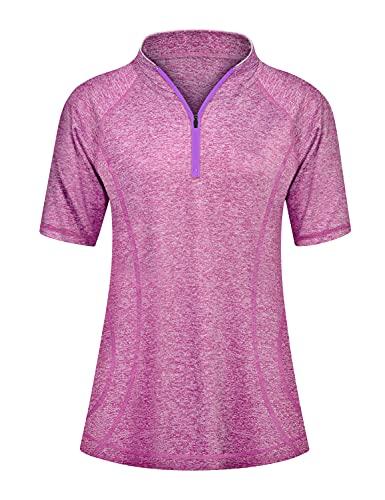 Koscacy Short Sleeve Workout Tops for Women,Golf&Tennis Every Wear Stretch Elastic Absorb Half Zip V-Neck T-Shirt Soft Fishing Quick Dry Shirt Berry L