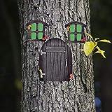 AGDLLYD Landhaus Feen Tür,Miniatur Fee Elf Haustür und Fenster,Gartentür für Feen, Zubehör für den Garten, leuchtet im Dunkeln, niedlichen Baum Dekor Kunst Dekorationen