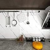 Livelynine 5M X 90 CM Breit Klebefolie Marmor Folie Selbstklebend Mamorfolie Für Tisch Holz Glastisch Esstisch Küchen Arbeitsplatten Folie Arbeitsplatte Küche Tischfolie Muster Grau Weiße Klebefolie - 5
