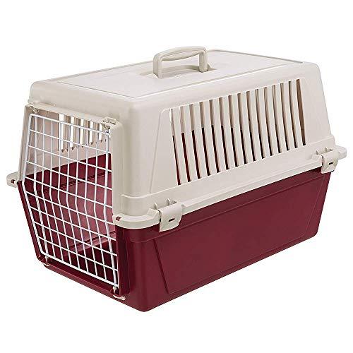 Ferplast Transportbox für kleine Hunde und Katzen Atlas 30 EL, Transportbox für Tiere, robuster Kunststoff, Tür aus kunststoffbeschichtetem Stahl, Lüftungsgitter, 40 x 60 x 38 cm, bordeaux