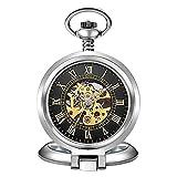 SKYEI Reloj de bolsillo clásico y elegante. Reloj de bolsillo – Doble grabado a cielo abierto retro para hombre Steampunk Machine Reloj mecánico Movimiento dorado con cadena (color: H)