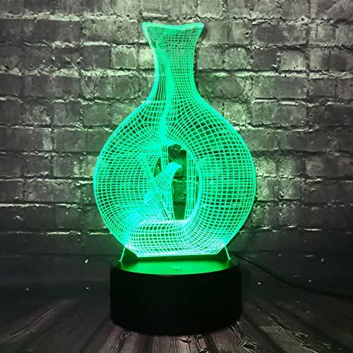 Art Und Weiseausgangsdekoration 3D Led Usb Lampe Vogel Im Vasen-Käfig 7 Farben, Die Schlaf-Birnen-Schreibtisch-Tischbeleuchtung Ändern Innovatives Einzigartiges Geschenk