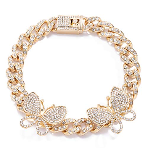 Ingemark Gold/Silver Cuban Link Anklet Colorful Butterfly Anklet for Women Teen Girls Fashion Summer Jewelry Accessory (#3 Golden)
