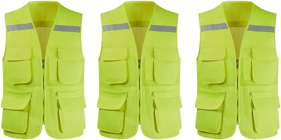 At the price of surprise Cheap sale Creative Reflective Vest High Zipper Mesh Pocket Multifunctional