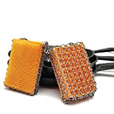 Original good grips cast iron cleaner with silica gel faster Chainmail Scrubber for lodge cast iron skillet,cookware,pans,counters, sinks- oil free,no soap need,pan Scraper for Home (orange)