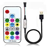 WS2812B SK6812 Addressable LED Controller RF Remote Wireless Mini Controller 5V USB for WS2812 SK6812 Dream Color Rainbow RGB LED Pixel Strip Panel Light, 3pin JST Connector 358 Color Modes