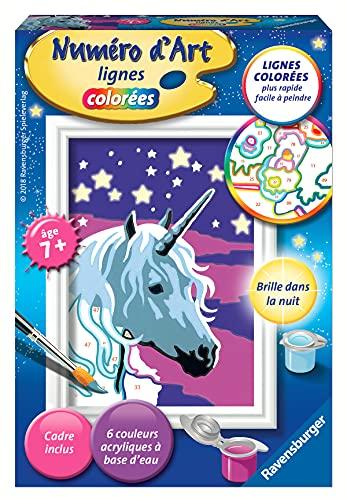 Ravensburger – Numéro d'art mini format – Licorne scintillante – loisir créatif – kit de peinture acrylique – activite détente – enfant dès 7 ans – 29613