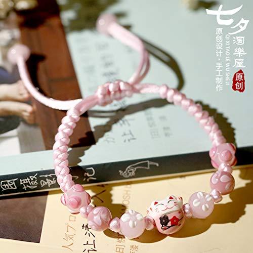 YUANOMSL Bracelet en Céramique,Main Japonaise Rose Chats Porte-Bonheur Hommes Et Femmes Couple...