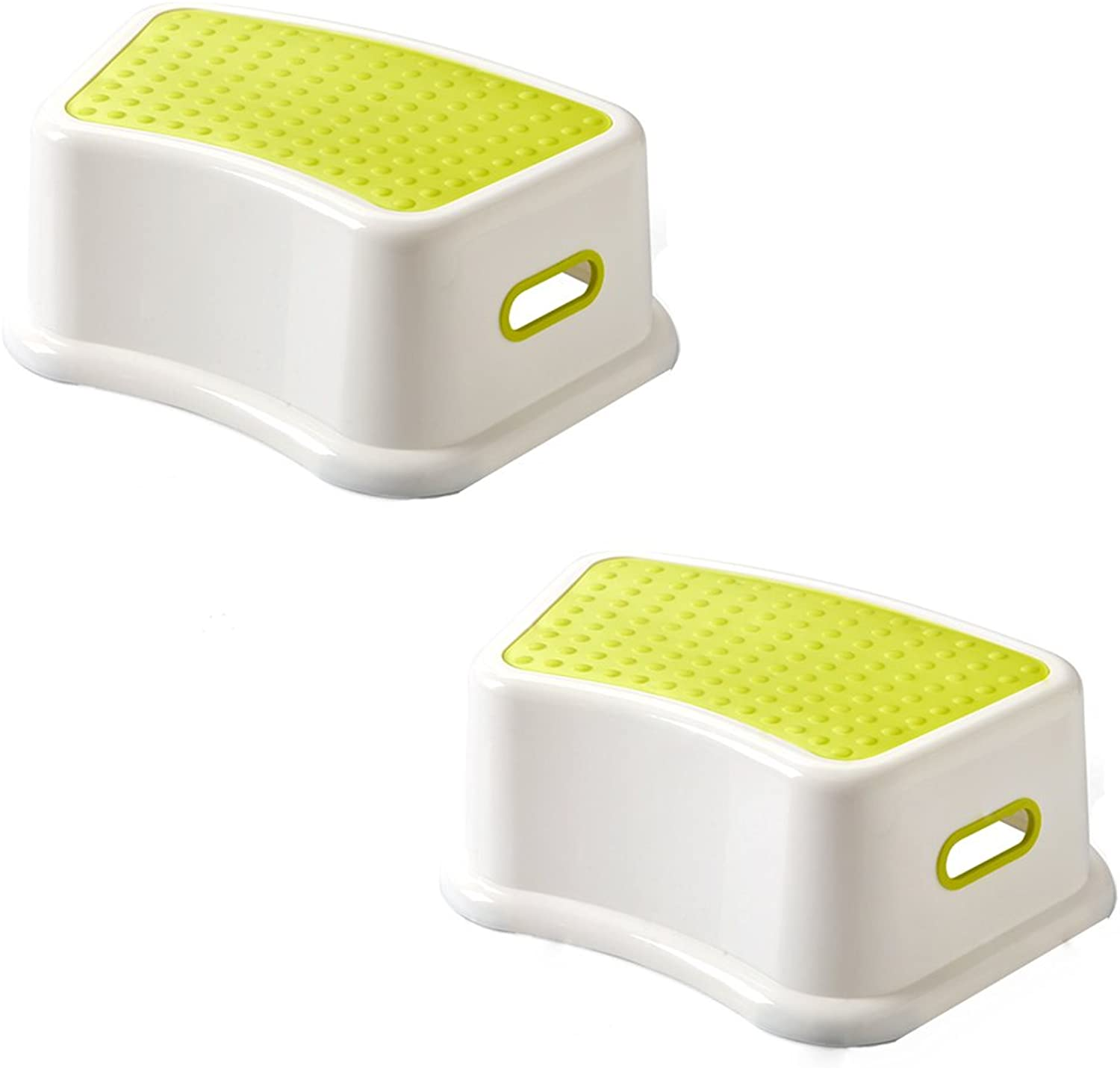 bluee Step Stool for Kids Toddlers, Potty Training, Bathroom Bedroom Kitchen, Plastic, 2 Pack (color   Green)