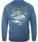 Striped Bass Fishing 100% Cotton Casual Men's Long Sleeved Shirts, Show Your Love of Fishing with our Unisex Wicked Fish Striper Bass Saltwater Fishing Long Sleeved T-shirts for Men or Women (Large)