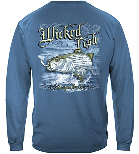 Striped Bass Fishing 100% Cotton Casual Men's Long Sleeved Shirts, Show Your Love of Fishing with our Unisex Wicked Fish Striper Bass Saltwater Fishing Long Sleeved T-shirts for Men or Women (X-Large)