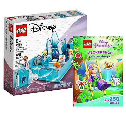 Collectix Lego Disney - Juego de libro de cuentos de hadas Elsas (43189) + libro de pegatinas de Princesas Disney (tapa blanda), set de regalo a partir de 5 años.