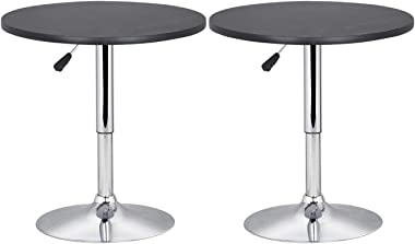 "Set of 2Pcs 23.6"" Black MDF Swivel Round Bar Table w/Height Adjustable with Ebook"