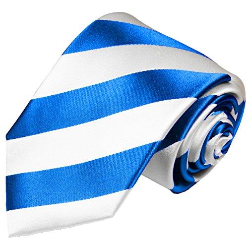 Paul Malone Krawatte hellblau weiß gestreifte Seidenkrawatte normallange 150cm