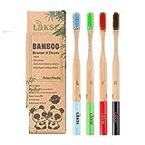 LAKSI Brosse à Dents Biodégradable Compostable vegan Naturel en bambou brosse à dents très souple pack de 4 brosse à dents bambou écologique |brosse a dents bois aide au blanchiment et détartrage