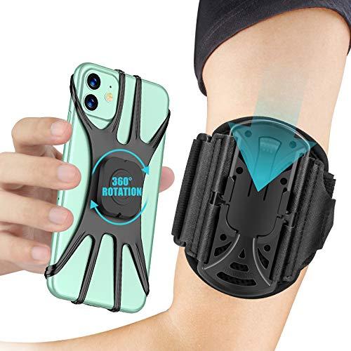 Cocoda Sportarmband Handy, Handytasche Laufen, [360° Drehbar & Abnehmbar], Armtasche Joggen, Handy Armband mit Kopfhörer und Schlüsselhalter, Kompatibel mit iPhone 12 Pro bis zu 6,5