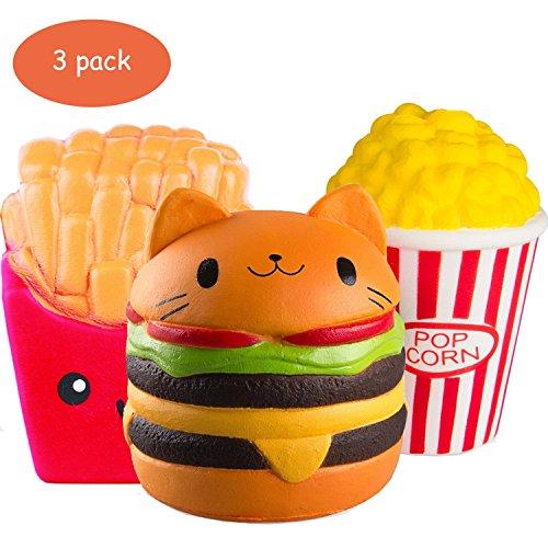 ZhengYue 3 Stück Kawaii Squishy Spielzeug - Popcorn Fries Hamburger Squeeze Stress Squishies Langsam Dekompression Creme Duftenden Geschenk für Kinder Erwachsene Mädchen Jungen