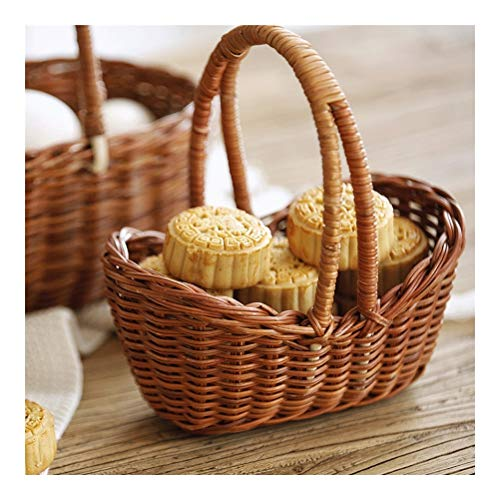 Cesta de la compra multifuncional exquisita, cesta de aperitivos y bebidas, decoración del hogar, madera, natural, Medium