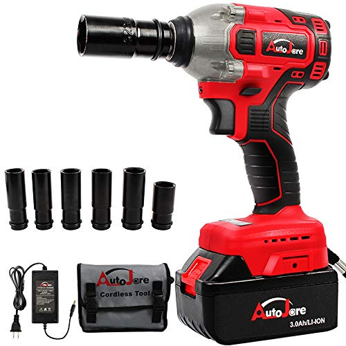 AUTOJARE Cordless Impact Wrench Kit, Brushless 20V Max / 18V Lithium-Ion 1/2 Inch Cordless Wrench Kit