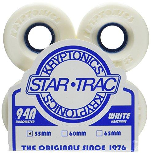 Kryptonics Star Trac Skateboard Wheels, White/Blue - 55mm by Kryptonics