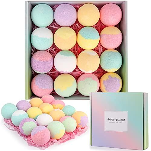 Bombe de Bain,16PCS Boule de Bain Coffret-Cadeau Femme,Huiles Essentielles Naturelles,Cadeau Femme,Cadeau pour Maman Anniversaire,Maman,Petite Amie,Sœur,Saint Valentin