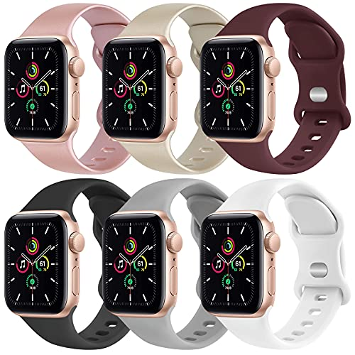 [6 Pack] Yisica Silicone Bands Compatible with Apple Watch Band 40mm 38mm 44mm 42mm for Men Women, Sport Wristbands for iWatch Series SE/6/5/4/3/2/1 ( Rose Gold+Gold+Wine Red+Black+Gray+White, S/M)